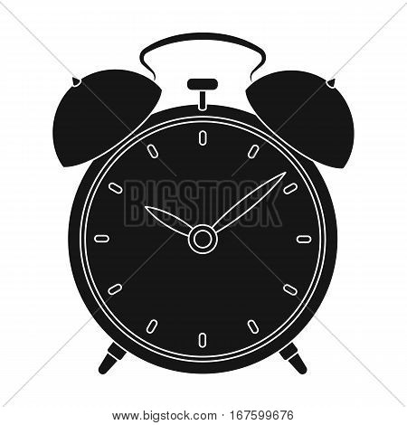 Bedside clock icon in black design isolated on white background. Sleep and rest symbol stock vector illustration. - stock vector