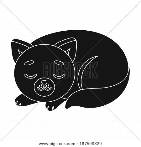 Sleeping cat icon in black design isolated on white background. Sleep and rest symbol stock vector illustration. - stock vector