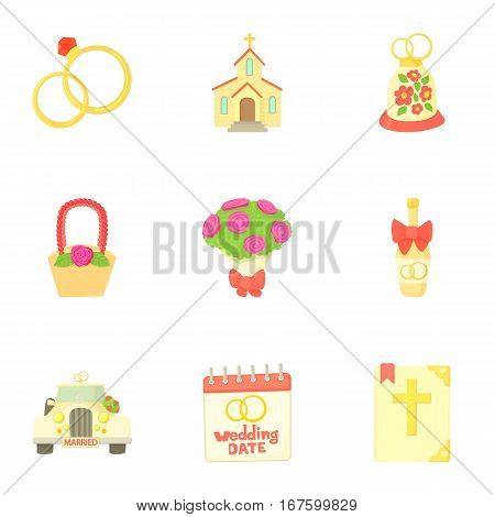Wedding ceremony icons set. Cartoon illustration of 9 wedding ceremony vector icons for web