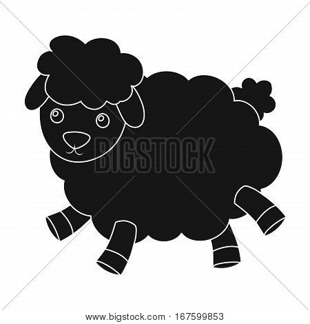 Toy sheep icon in black design isolated on white background. Sleep and rest symbol stock vector illustration. - stock vector