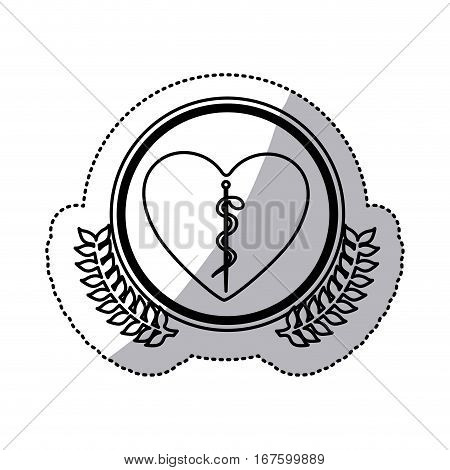 monochrome sticker of heart with health symbol with serpent entwined in circle with olive branches vector illustration