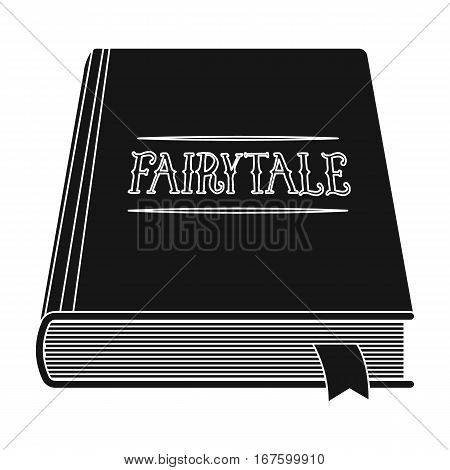 Book with fairytales icon in black design isolated on white background. Sleep and rest symbol stock vector illustration. - stock vector