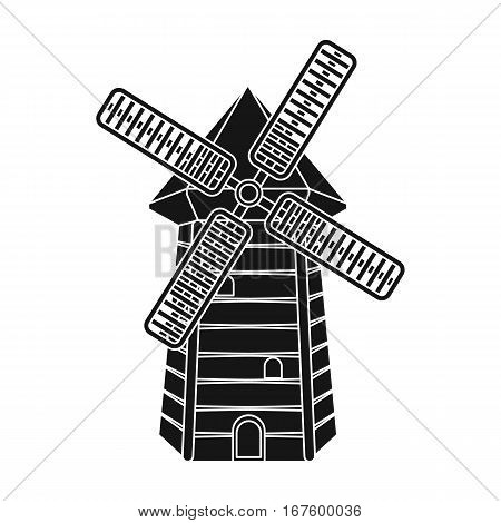 Spanish mill icon in black design isolated on white background. Spain country symbol stock vector illustration. - stock vector