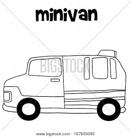 Tranportation of minivan hand draw vector illustration