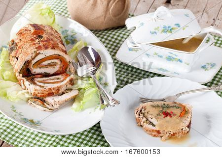 Table With Turkey Roll