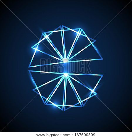Abstract background with blue neon triangles, stock vector