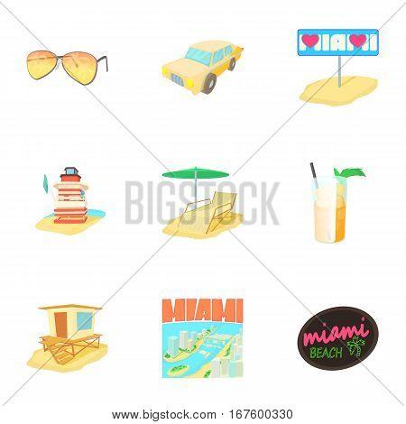 City Miami icons set. Cartoon illustration of 9 city Miami vector icons for web