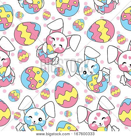 Easter seamless pattern with cute bunny, and colorful eggs suitable for Easter wallpaper, fabric, and scrap paper