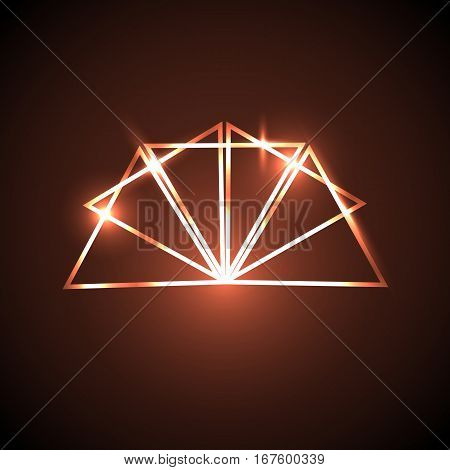 Abstract background with orange neon triangles, stock vector