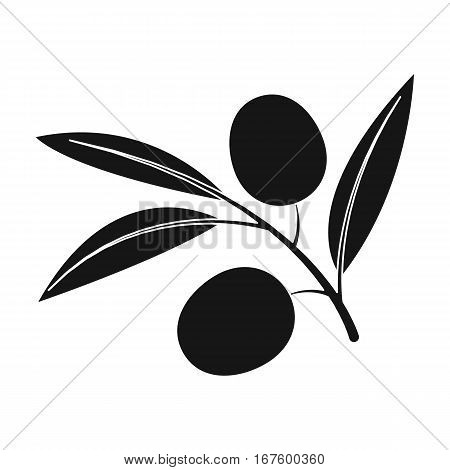 Branch of olives icon in black design isolated on white background. Spain country symbol stock vector illustration. - stock vector