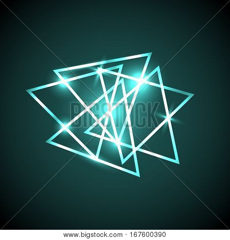 Abstract background with green neon triangles, stock vector