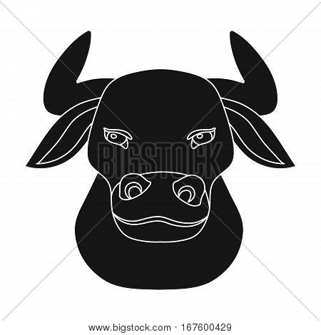 Head of bull icon in black design isolated on white background. Spain country symbol stock vector illustration. - stock vector