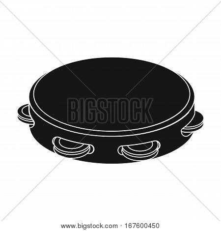 Tambourine icon in black design isolated on white background. Spain country symbol stock vector illustration. - stock vector