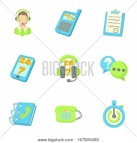 Support icons set. Cartoon illustration of 9 support vector icons for web