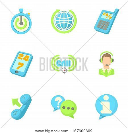 Online consultation icons set. Cartoon illustration of 9 online consultation vector icons for web