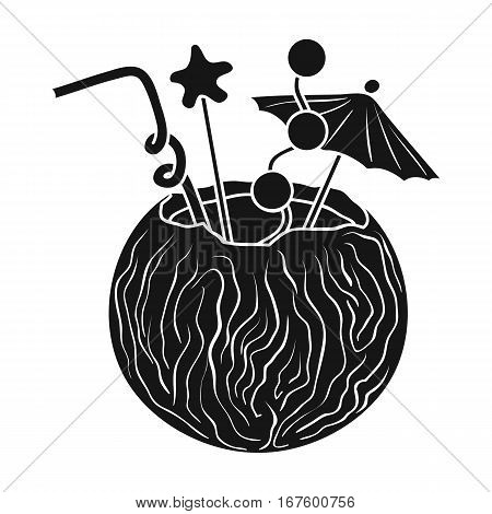 Coconut cocktail icon in black design isolated on white background. Surfing symbol stock vector illustration. - stock vector