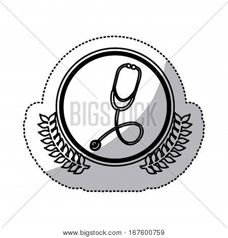 monochrome sticker with stethoscope in circle with olive branches vector illustration