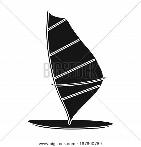 Windsurf board icon in black design isolated on white background. Surfing symbol stock vector illustration. - stock vector