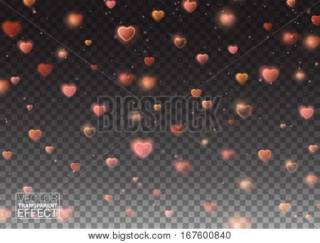 Valentines Day background of Red Hearts Falling. Symbol Love. Shape Heart Confetti. Decor Element for Greeting Cards. Transparent Vector Effect.