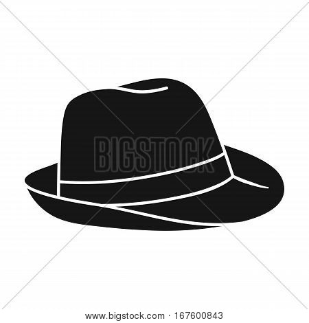 Panama hat icon in black design isolated on white background. Surfing symbol stock vector illustration. - stock vector