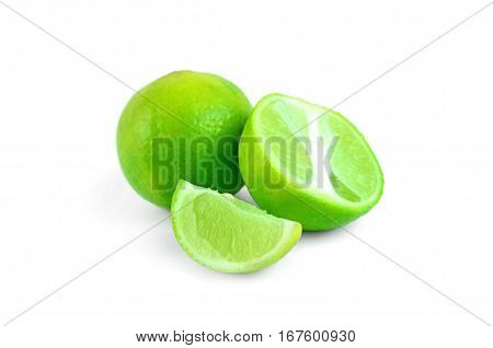 Lemon green is cut into pieces on a white background.