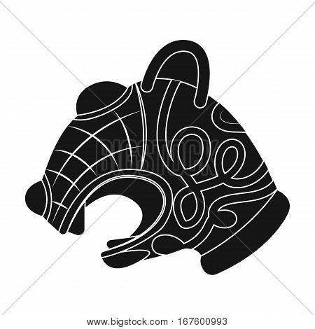 Animal head of viking s ship icon in black design isolated on white background. Vikings symbol stock vector illustration. - stock vector