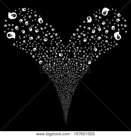 Intellect Bulb fireworks stream. Vector illustration style is flat white iconic symbols on a black background. Object double fountain created from random icons.