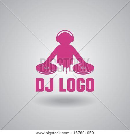 Dance party, dj logo design vector illustration