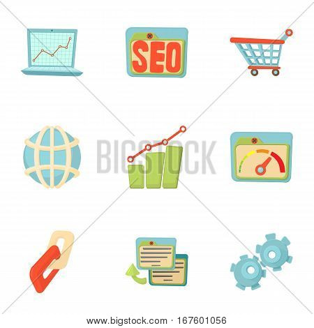 Optimization icons set. Cartoon illustration of 9 optimization vector icons for web