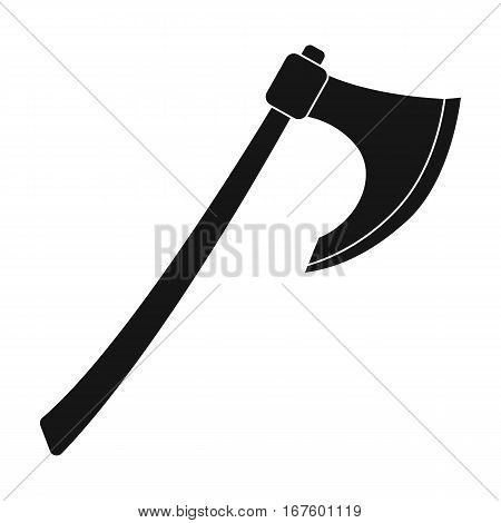 Viking battle-axe icon in black design isolated on white background. Vikings symbol stock vector illustration. - stock vector