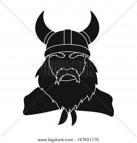 Viking icon in black design isolated on white background. Vikings symbol stock vector illustration. - stock vector