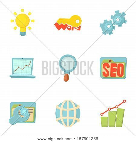 SEO promotion icons set. Cartoon illustration of 9 SEO promotion vector icons for web