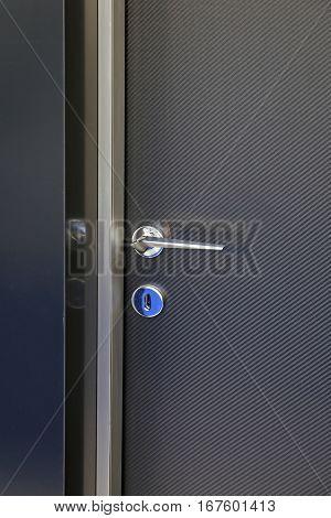 Contemporary Handle at Dark Carbon Fiber Door