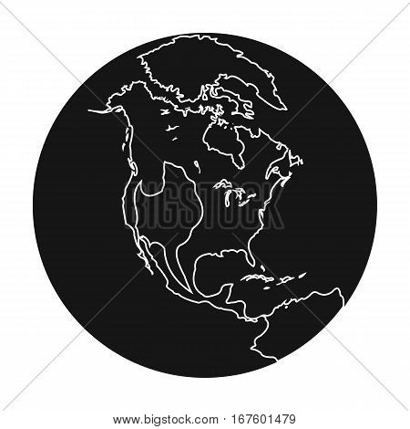 Earth icon in black design isolated on white background. Planets symbol stock vector illustration. - stock vector
