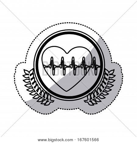 monochrome sticker with circle with olive branches and heart with line vital sign vector illustration