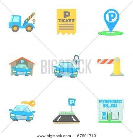 Valet parking icons set. Cartoon illustration of 9 valet parking vector icons for web