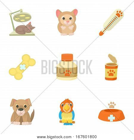 Veterinarian icons set. Cartoon illustration of 9 veterinarian vector icons for web