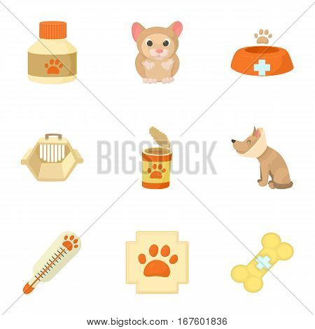 Veterinary animals icons set. Cartoon illustration of 9 veterinary animals vector icons for web