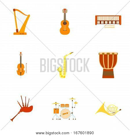 Musical device icons set. Flat illustration of 9 musical device vector icons for web