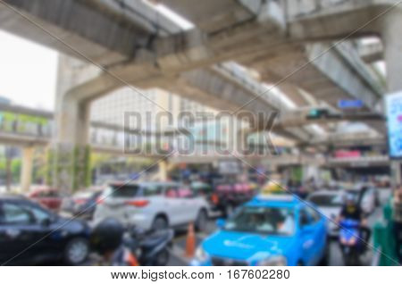 Blurred background .heavy traffic at Siam Square. Bangkok Thailand