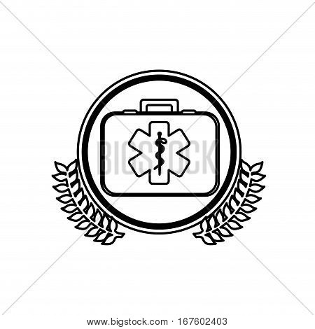 monochrome firts aid kit with symbol star of life in circle with olive branches vector illustration