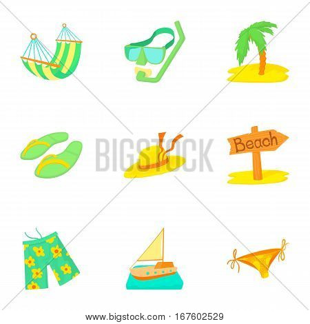 Tourism at sea icons set. Cartoon illustration of 9 tourism at sea vector icons for web