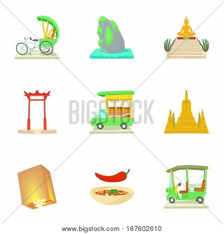 Holiday in Thailand icons set. Cartoon illustration of 9 holiday in Thailand vector icons for web