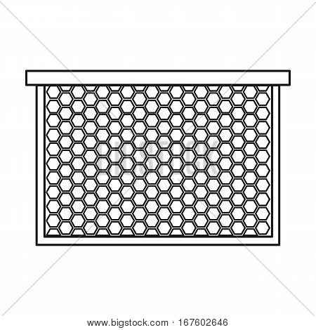 Frame with honeycomb icon in outline style isolated on white background. Apairy symbol vector illustration - stock vector