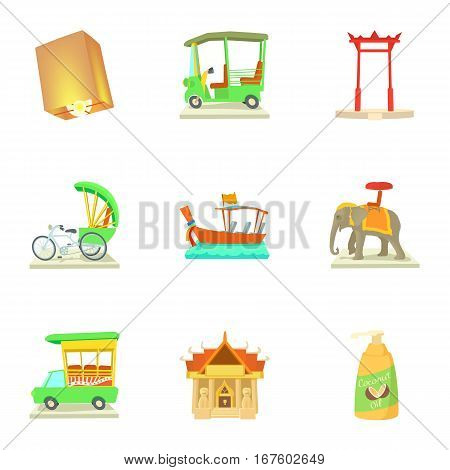 Tourism in Thailand icons set. Cartoon illustration of 9 tourism in Thailand vector icons for web