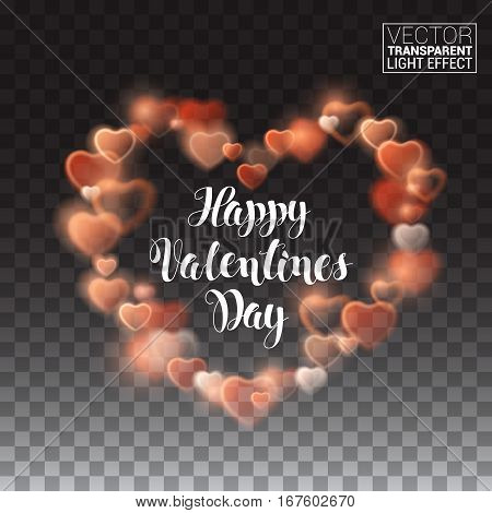 Glowing stream of sparkles and lens flare light effect. Happy Valentines Day. Decoration element. Holiday vector illustration of shiny heart path isolated on checkered transparent background.