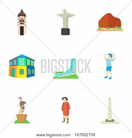 Attractions of Brazil icons set. Cartoon illustration of 9 attractions of Brazil vector icons for web