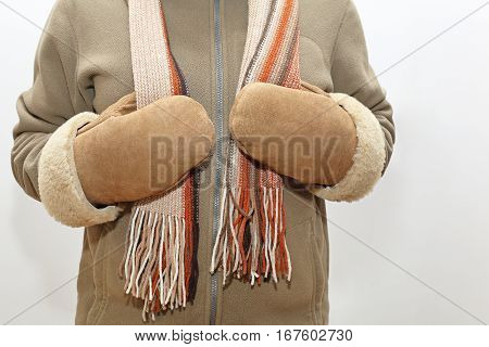 Winter Clothing Leather Mittens and Wool Shawl