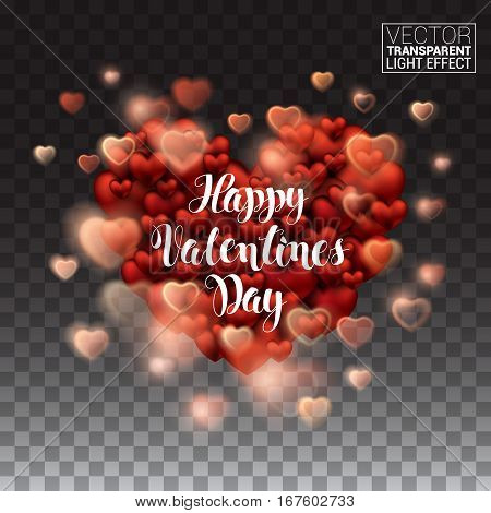 Happy Valentines Day. Glowing stream of sparkles and lens flare light effect. Holiday shiny heart. Decoration element. Vector Illustration Isolated on transparent background.