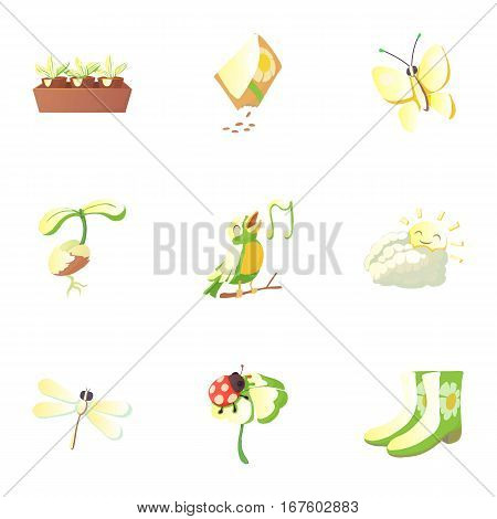 Springtime icons set. Cartoon illustration of 9 springtime vector icons for web